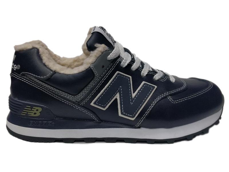 Зимние New Balance 574 Leather темно-синие с серым