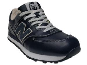 Зимние New Balance 574 Leather темно-синие с серым - фото спереди