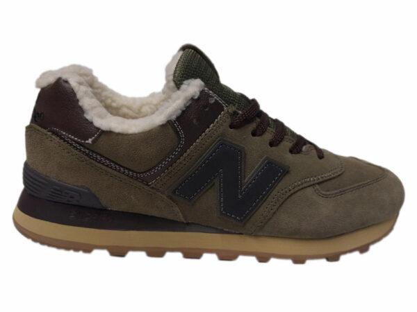 Зимние New Balance 574 Suede болотные с коричневым и серым