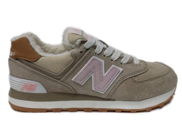 Зимние New Balance 574 бежевые с розовым