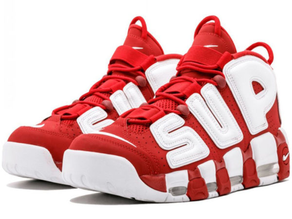 Nike Air More Uptempo X Supreme красные с белым