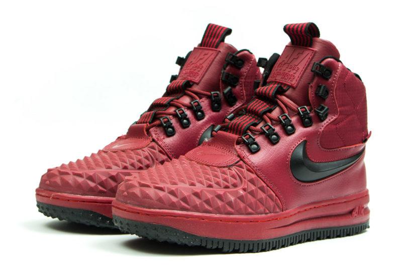 Зимние Nike Air Force 1 с МЕХОМ Lunar Duckboot Red красные (35-45)