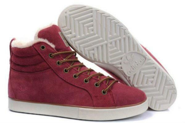 Кроссовки Adidas Ransom бордово-красные с мехом