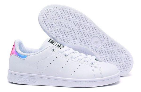 Adidas Stan Smith «Metallic Silver» белые с цветным (35-39)