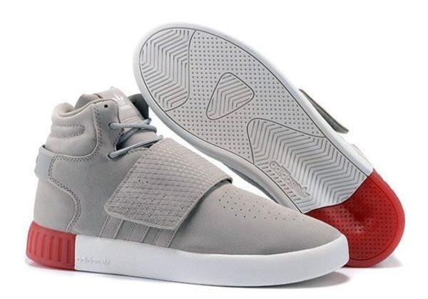 Adidas Tubular Invader Strap серые с красным (40-44)