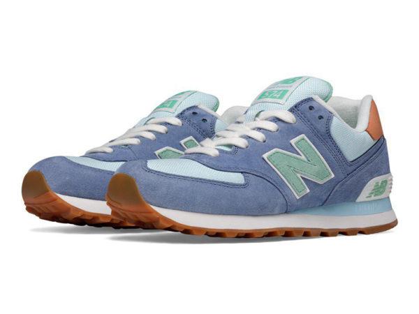 New Balance 574 замша-сетка сине-голубые с мятным (36-40)